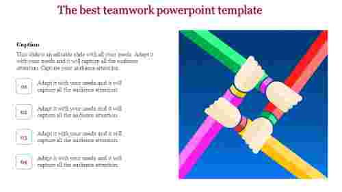 teamwork powerpoint template - coordinated hands