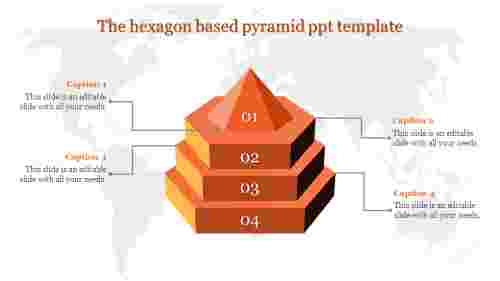 A four noded pyramid ppt template
