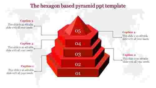 A five noded pyramid ppt template