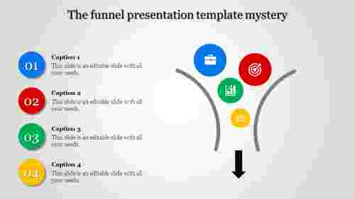 Funnel presentation template for marketing conversion.