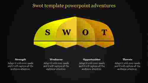 dark background SWOT template powerpoint