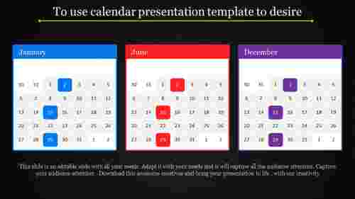 Ordinary calendar presentation template