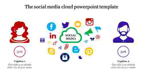 A two noded cloud powerpoint template