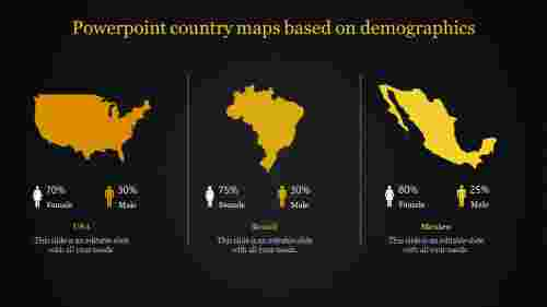 A three noded powerpoint country maps