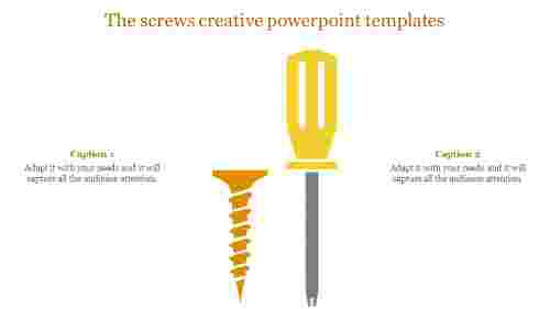 Creative powerpoint templates with Tester and screw