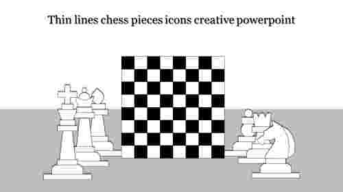 creative powerpoint-Thin lines chess pieces icons creative powerpoint-Style 2