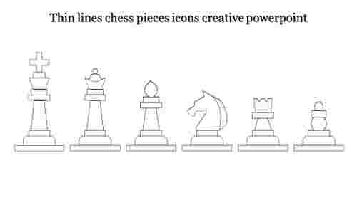 creative powerpoint-Thin lines chess pieces icons creative powerpoint