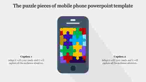 A two noded mobile phone powerpoint template