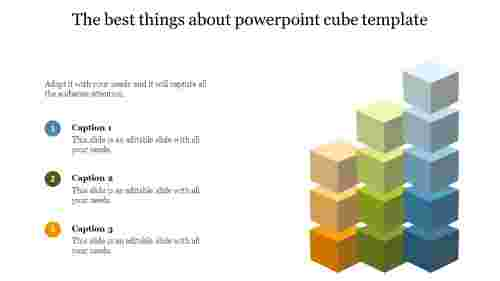 A three noded powerpoint cube template