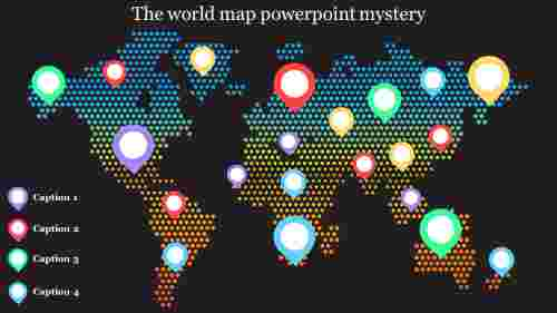 A four noded world map powerpoint