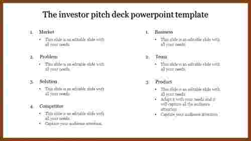 Steps To More Investor Pitch Deck Powerpoint Template