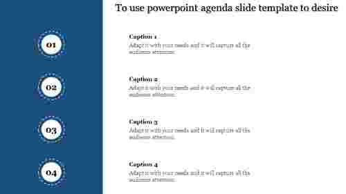 A four noded powerpoint agenda slide template