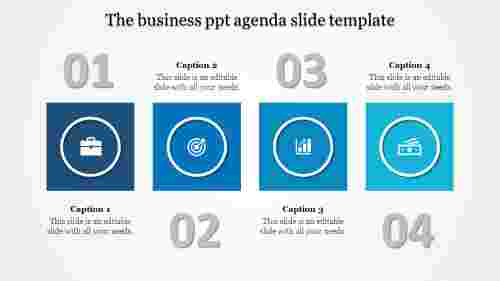 A four noded PPT agenda slide template