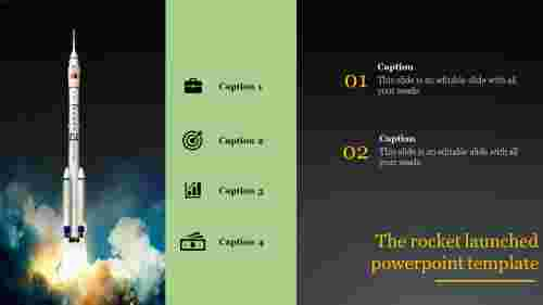 A four noded rocket launched powerpoint template