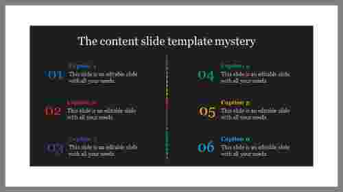 A six noded content slide template