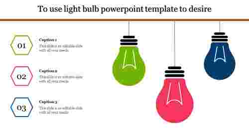 A three noded light bulb powerpoint template