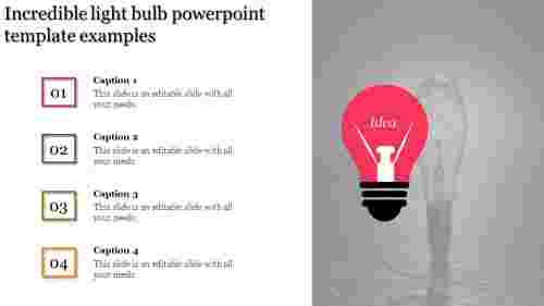 A four noded light bulb powerpoint template