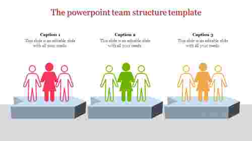 A three noded powerpoint team structure template