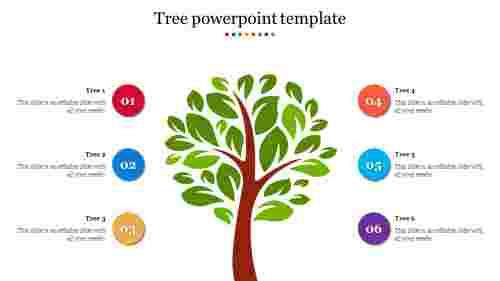 A six noded tree powerpoint template