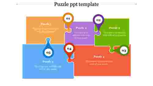 A five noded puzzle ppt template