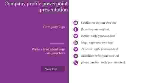 A seven noded Company profile powerpoint presentation