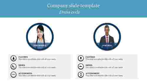 A six noded Company slide template