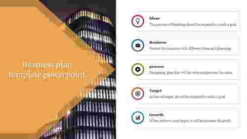 A five noded business plan template powerpoint