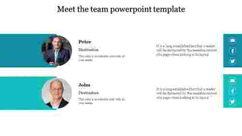 A two noded meet the team powerpoint template