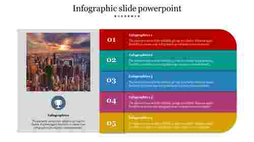 A five noded infographic slide powerpoint