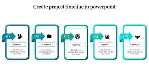 A five noded Create project timeline in powerpoint