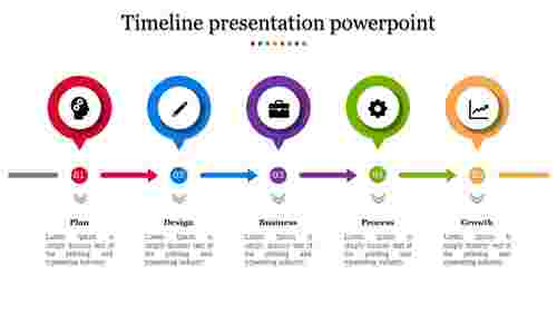A five noded timeline presentation powerpoint