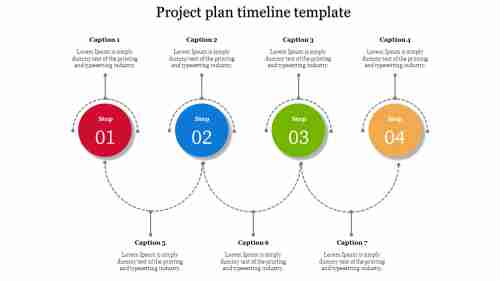 A four noded Project plan timeline template