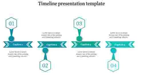 A four noded Timeline presentation template