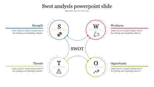 A Four Noded SWOT Analysis Powerpoint Slide