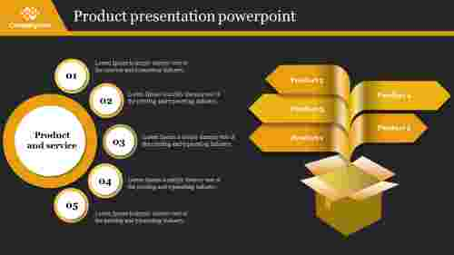 A five noded product presentation powerpoint
