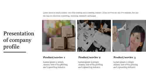 Product service presentation of company profile