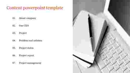 Content powerpoint template for business