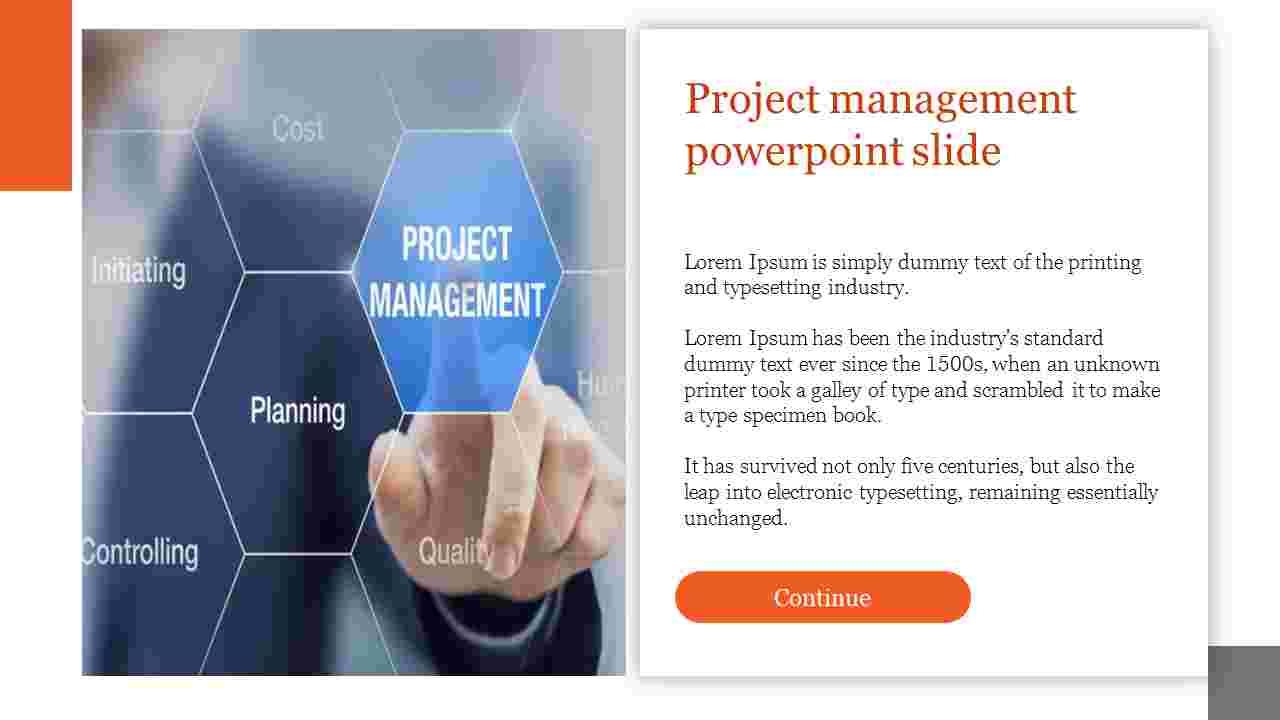 Project management powerpoint slide with portfolio designs