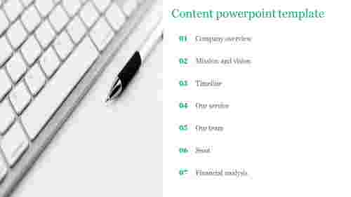 Content powerpoint template for company