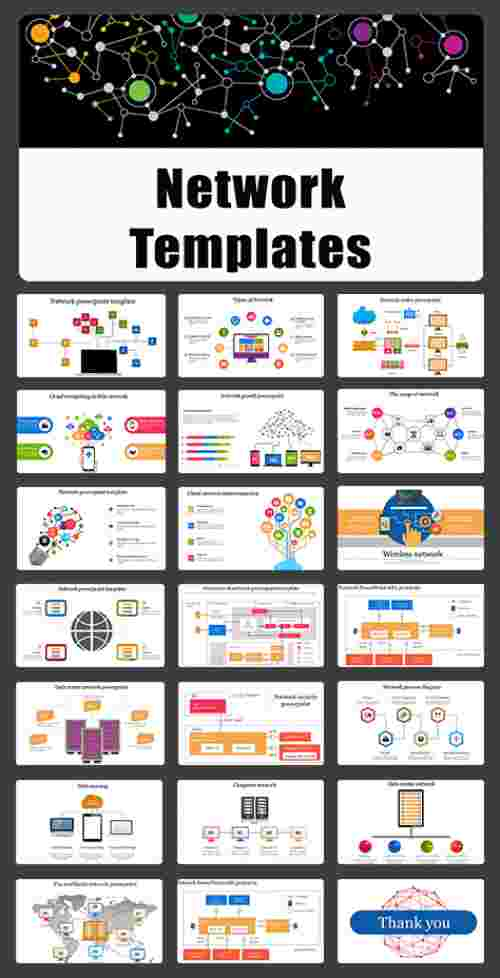 A sixteen noded Network powerpoint templates