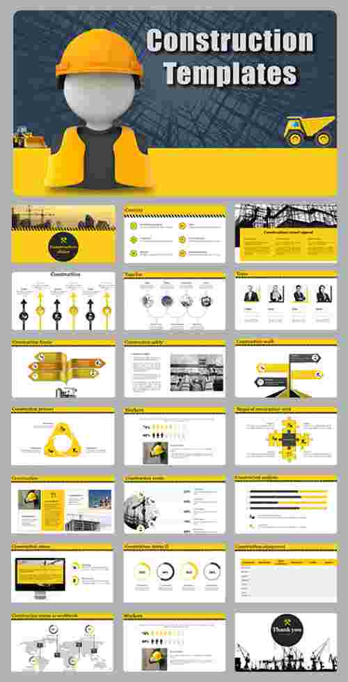A sixteen noded construction powerpoint templates