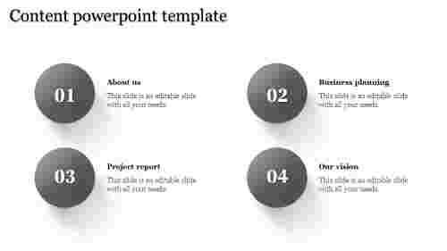 A four noded content powerpoint template