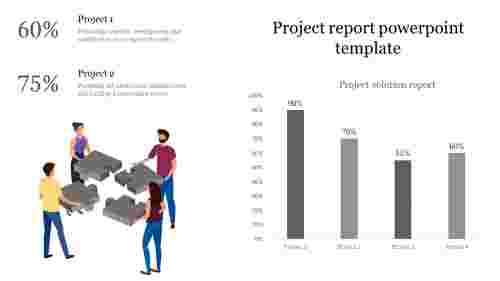 A four noded Project report powerpoint template