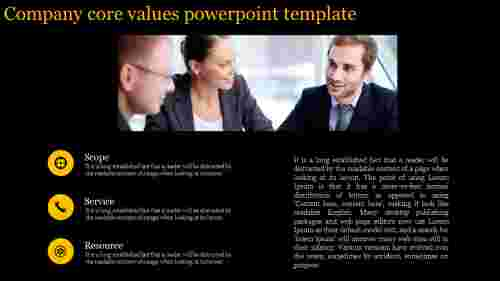 A three noded core values powerpoint template