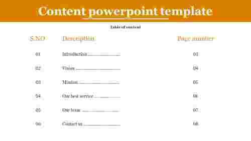 A six noded content powerpoint template