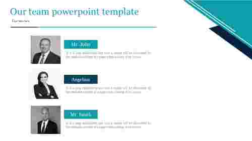 A three noded Our team powerpoint template