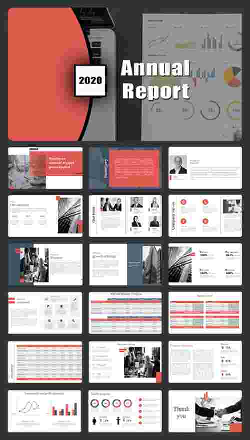 A sixteen noded annual report powerpoint template