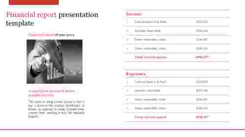 A two noded financial report presentation template