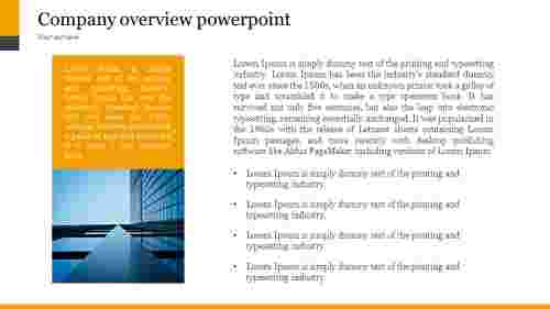 A one noded company overview powerpoint