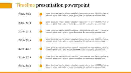 A seven noded timeline presentation powerpoint